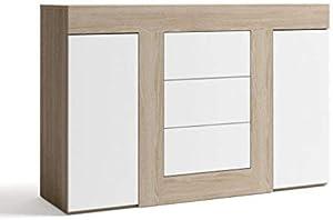 FabriKit 15034TR - Aparador buffet tres cajones y 2 puertas, mueble auxiliar salon color Blanco y Sable, medidas: 140x92x39,6 cm de fondo
