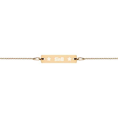 "Very Designer SinB Stars Bracelet Sterling Silver Engraved Bar Pendant and 7"" Chain in Gold Finish | Kpop Mafia GFriend SinB Merchandise Kpop Jewelry for Buddy Fans"