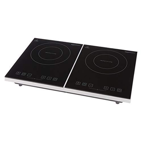 Amazon Basics - Placa de inducción doble con pantalla digital, controles táctiles y temporizador, 3500 W, negro
