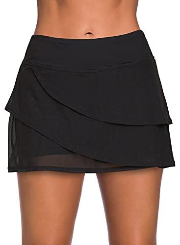 HOTAPEI Women's High Waist Layered Swim Skirt Ruffle Swimsuit Bikini Bottom Black Medium 8 10