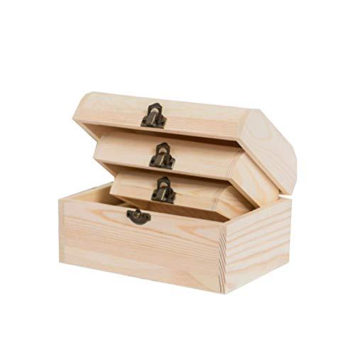 Healifty 3 Piezas Caja de Madera Rectangular sin Terminar con Tapa con Bisagras Caja de Joyería Caja de Regalo Caja de Almacenamiento del Tesoro Cofre para Manualidades DIY