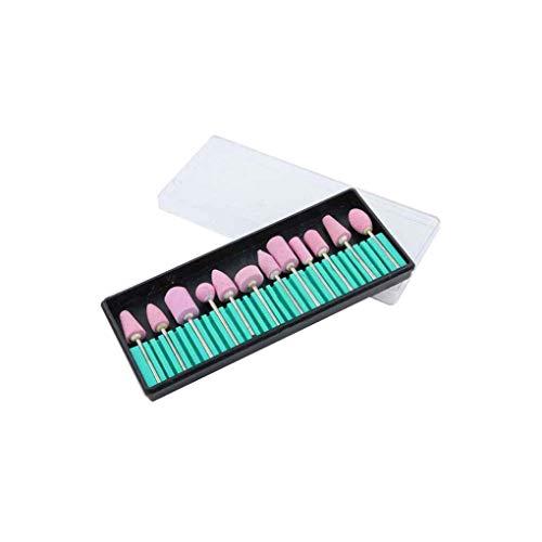 Lidahaotin 12 Styles/Set Nail Art Polissage Tête de Polissage 12 Styles De Meulage Pédicure Forets À Ongles Kit Nail Art Machine Accessoires Nail Outils Pink