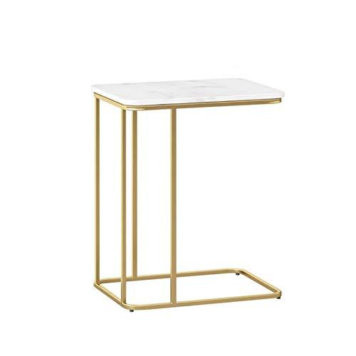 YAQ-Muebles de oficina Hierro forjado Mesita, Apartamento for estudiantes pequeña zona de comedor mesa de mármol Tamaño fácil de limpiar la mesa de centro: 50 * 30 * 58 CM Mesas de pedestal