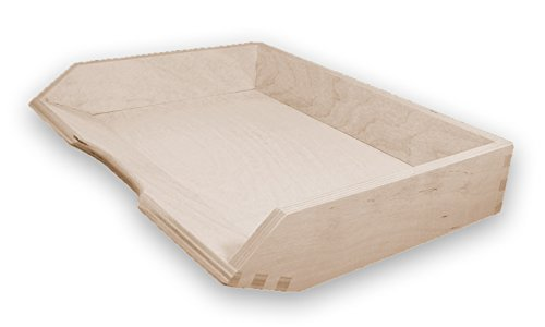 MidaCreativ Ablagekorb, Briefablage, Briefkorb A4 quer, Holz, Kiefer unbehandelt, stapelbar