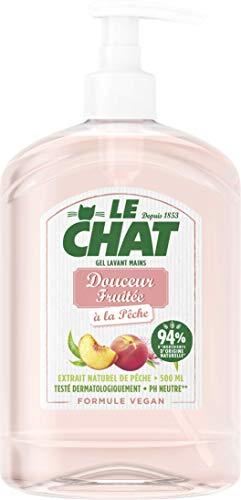 Le Chat - Savon Mains - Gel Lavant - Douceur Fruitée - Testé dermatologiquement - Formule Vegan - PH Neutre - 94% d'ingrédients d'origine naturelle - Flacon 500ml