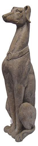 Deko Dekofigur Polyresin Figur Vintage Retro Motiv: Windhund sitzend Höhe 76,8 cm