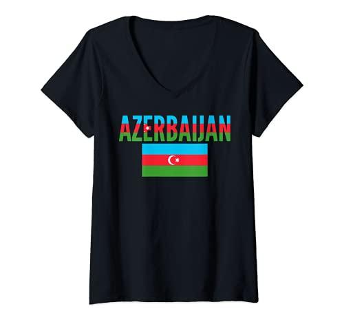 Damen Azerbaijan Country Flag - Azerbaijani T-Shirt mit V-Ausschnitt