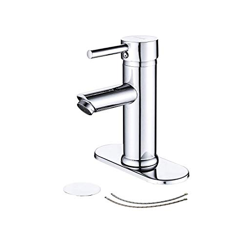 Greenspring Bathroom Sink Faucet Matching Drain Assembly Single Handle One Hole Deck Mount Lavatory Faucet Stainless Steel Chrome
