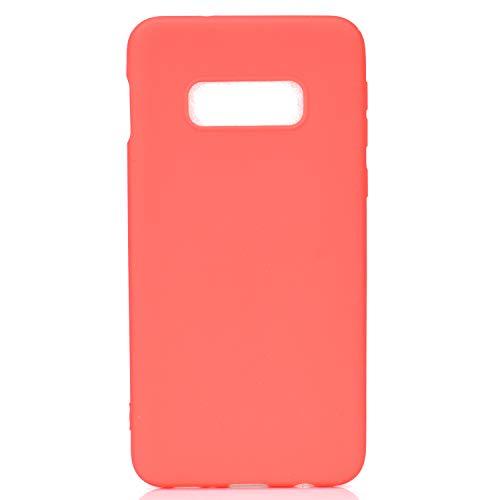 cuzz Custodia Samsung Galaxy S10E+{Film di Vetro temperato}Silicone TPU Cover Morbida Protettiva Custodia Ultra Sottile Leggero Cover-Rosso