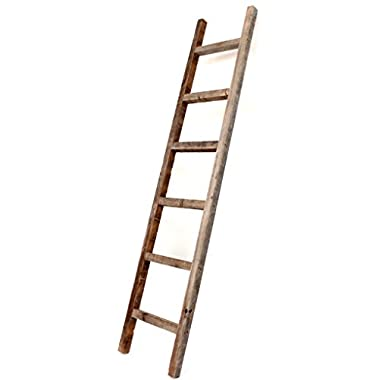 BarnwoodUSA Rustic 6 ft Decorative Ladder - 100% Reclaimed Wood Ladder, Weathered Gray ♻️