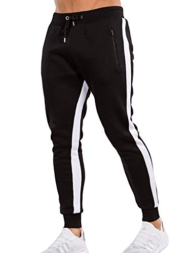 Ouber Men's Gym Jogger Pants Slim Fit Workout Running Sweatpants with Zipper Pockets (M,Black)