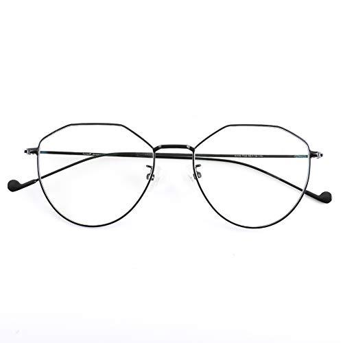 Cyxus Gafas Anti-luz Azul - Marco de Metal Gafas para Ordenador, Anti Tensión de Ojos, Lentes Transparentes Unisexo para Hombres y Mujeres (8009-Negro)