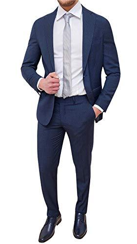 Evoga Abito Completo Uomo Sartoriale a Righe Vestito gessato Elegante Cerimonia (46, Blu)