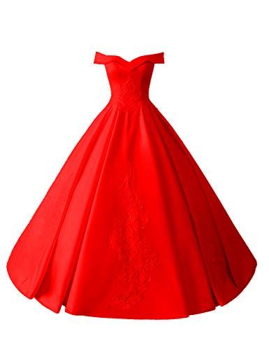 HUINI Brautkleider Lang Elegant Hochzeitskleider Satin A-Linie Quinceanera Kleider Promkleider Rückenfrei Ballkleider Glitzer Rot 38