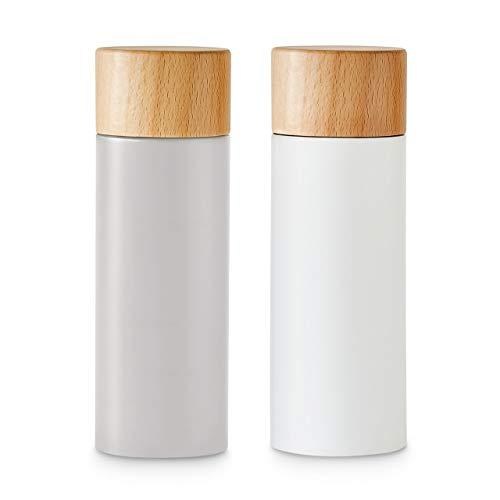 Salz- und Pfeffermühlen-Set 2-tlg, Gewürzmühle aus Birkenholz im Scandi-Design, Verstellbares Keramikmahlwerk, Grinder, Unbefüllt & Nachfüllbar - Grau/Weiß