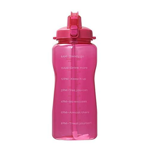 Aohro Botella de agua Tritan de gran capacidad con marcador de tiempo, sin BPA, botellas de bebidas deportivas, batidoras de proteínas, gimnasio, fitness, color rosa