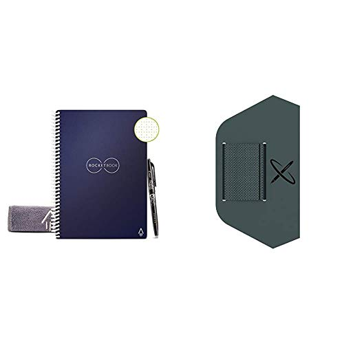 """Rocketbook Smart Reusable Notebook - Dot-Grid Eco-Friendly Notebook with 1 Pilot Frixion Pen & 1 Microfiber Cloth Included - Midnight Blue Cover, Letter Size (8.5"""" x 11"""") & Pen/Pencil Holder"""