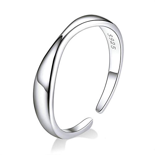 JIARU 925 Sterling Silver Ring for Women Adjusatable ring fashion simple ring and Geometric irregular wavy platinum plated rings for Girl Open Finger Ring Gift