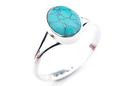 Ring Silber 925 Sterlingsilber Türkis blau grün Stein (Nr: MRI 92), Ringgröße:58