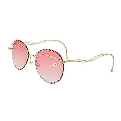 LUOXUEFEI Gafas De Sol Gafas De Sol Redondas Sin Montura Para Mujer Gafas De Sol Sin Marco De Gran Tamaño Para Mujer