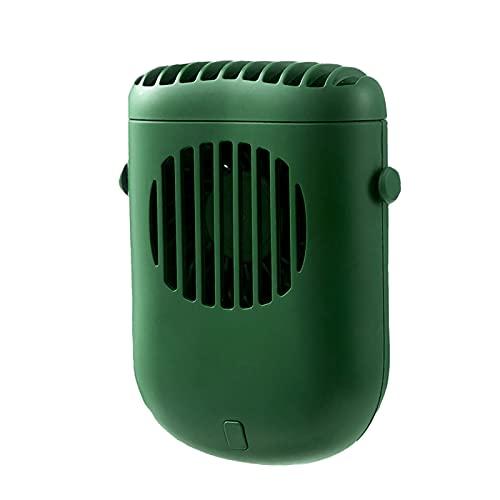 Delisouls Ventilador de cuello con manos libres, mini ventilador personal, recargable para colgar en el cuello con soporte de cordón y clip para viajes al aire libre, camping