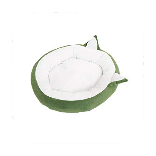 KASHINO Cama redonda para gatos y perros, ideal para invierno, ideal para mascotas, para gatos, perros, cojines de sofá, cama para gatitos, color verde-S