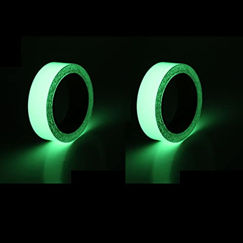 YCSD Green Glow in The Dark Tape, Removable Photoluminescent Luminous Tape Sticker, Wall Stairs Steps Glow in Dark Safety Duct Fluorescent Tape for Home, Office(2PCS)(10M) (10M)