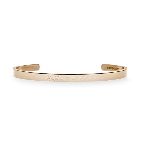 URBANHELDEN - Gravierter Armreif mit Ihrem Wunschnamen - Damen Schmuck Bangle Personalisiert - Verstellbar, Edelstahl - Armband mit Wunschgravur - V2 Rosegold