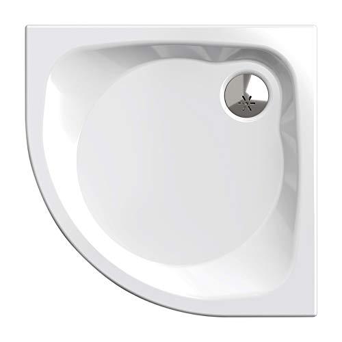 Duschwanne/Duschtasse Komplettset Nordona® SIMPLEX Plus | Maße: 80x80cm Viertelkreis R55 | Inklusive 4x Standfüße und einer Viega Tempoplex Ablaufgarnitur