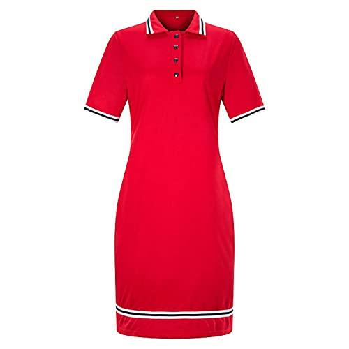 SLYZ Señoras Europeas Y Americanas Moda De Verano Solapa Color Sólido Falda Lápiz Delgada Vestido Deportivo
