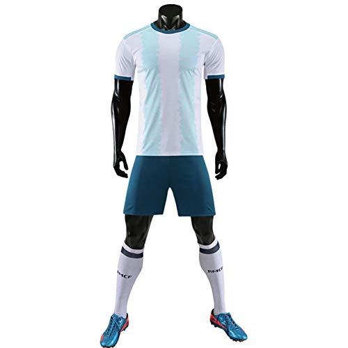 Uniforme de fútbol Argentino, Camiseta de fútbol + Shorts Jersey de fútbol para Hombre, Club Team Sportswear, para Equipo Entrenamiento Competición Ropa Deportiva Al Aire Libre,Argentina,M