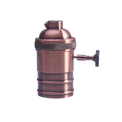 GCDN Enchufe de luz vintage, E26/E27 bombilla retro titular de la lámpara para bombilla colgante adaptador de enchufe (latón rojo)
