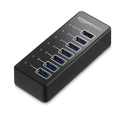 Amazon Basics - Hub de 7 puertos USB C 3.1 con adaptador de corriente, 36 W (12 V/3 A), Negro, EU