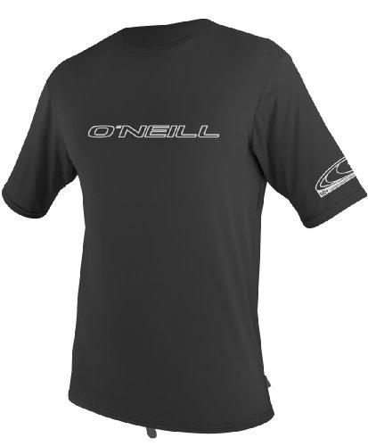 O'Neill UV 50+ Sun Protection Mens Basic Skins Short Sleeve Tee Sun Shirt Rash Guard, Black, Large