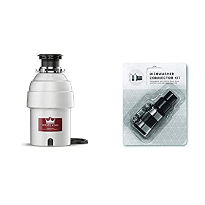 Waste King Legend Series 1 HP Continuous Feed Garbage Disposal with Power Cord - (L-8000) & Garbage Disposal Dishwasher Connector Kit - 1023