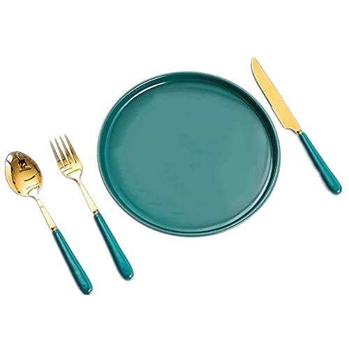 Juego de vajilla de Porcelana 1 Personas 4-7 Piezas, Juego de Platos de vajilla para el hogar, Juegos de Cena Europeos para , Cuchillo tenedor cuchara,Platos de postre,Tazón sopa,cuencos de vajilla pa