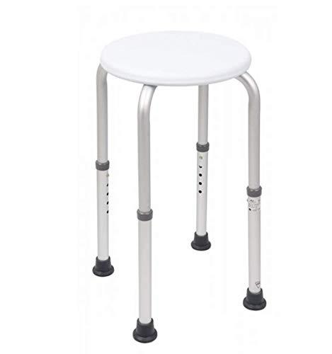Homecraft Tabouret de douche en aluminium avec siège circulaire, 40,8 à 50,8 cm pré-assemblés Siège de salle de bain robuste, réglable en hauteur, pour personnes âgées ou à mobilité réduite