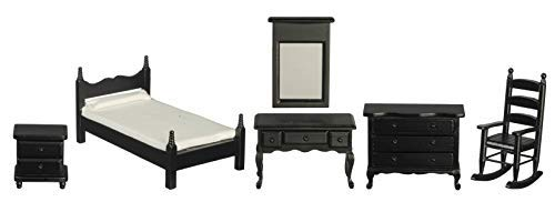 Melody Jane Casa de Muñecas Negro Madera Individual Dormitorio Conjunto de Muebles Miniatura con Silla Mecedora