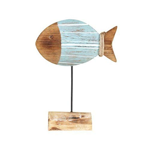 CAPRILO Figura Decorativa de Madera con Base Pez Azul y Marrón. Adorn