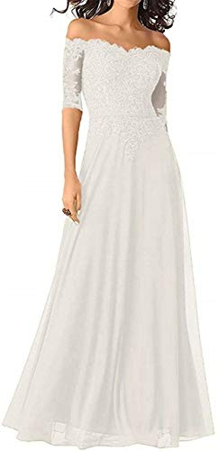 Women's Mother of The Bride Dresses Half Sleeve Lace Appliques Off Shoulder Formal Evening Gown Beaded Ivory US2
