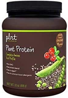 plnt Chocolate Plant Protein Powder with Complete Amino Acid Profile Raw Protein Blend, Easy to Digest Provides Energy, 19g of Protein Per Serving (2 Pound Powder)