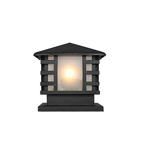 FGVBC IP55 wasserdichte Retro Outdoor Säulenlampe Milchglas Laterne Chinesische Vintage Post Pollerleuchte Aluminium Zaun Garten Deck Tischlampe Patio Innenhof Landschaftsbeleuchtung E27