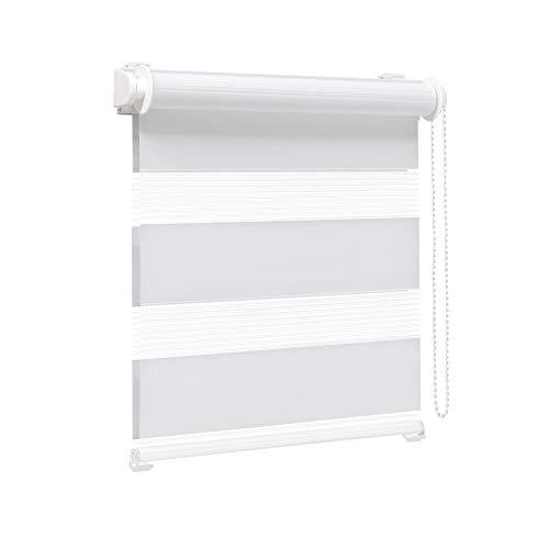 Victoria M. Zevra Doppelrollo Duo Rollo lichtdurchlässig ohne Bohren für Fenster und Türen, 115 x 160 cm, weiß