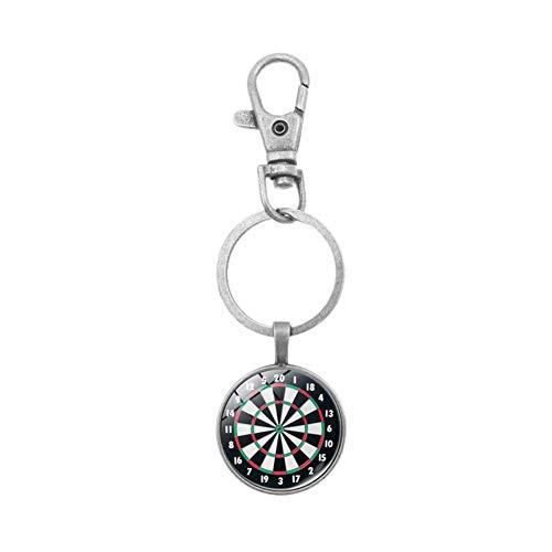 Benoon Schlüsselanhänger, Vintage-Dartscheibe, Schlüsselanhänger, Schlüsselanhänger, hängende Tasche, Ornament, Geschenk, Silber