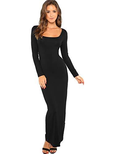 Verdusa Women's Long Sleeve Square Neck Bodycon Maxi Long Dress Black M