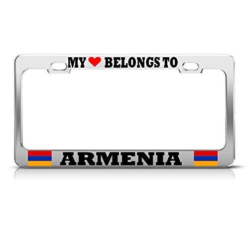 Metal Auto License Plate Frame Car Tag Holder My Herat Belongs To Armenia Chrome License Plate Frame Pride Auto Tag Border Perfect For Men Women Car Garadge Decor