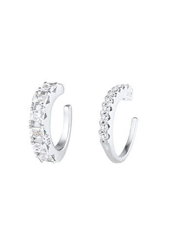 Elli PREMIUM Pendientes Earcuff para mujer con circonitas brillantes de plata esterlina 925 bañada en oro