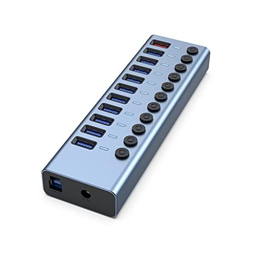 WJCCY Aleación de Aluminio 11-Port USB3.0 Splitter 10 Puerto Computadora Extendida USB HUB 1 Puerto Carga rápida Externa 12V4A Fuente de alimentación