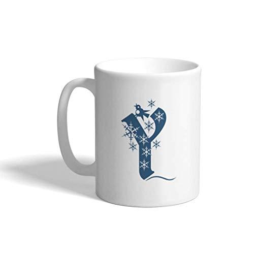 N\A Taza de café de cerámica, 11 onzas, Y', Monograma de Copo de Nieve Azul, Letra Y, Taza de té Blanca, Solo diseño navideño