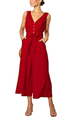 ECOWISH Womens Jumpsuits Casual Button Deep V Neck Sleeveless High Waist Wide Leg Jumpsuit Rompers with Pockets 272 Red Medium